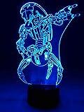 originelle 3D LED-Lampe Kampfdroide Droideka als Mehrfarben-Tischlampe Tischleuchte Wohnlicht im Wohnzimmer Kinderzimmer