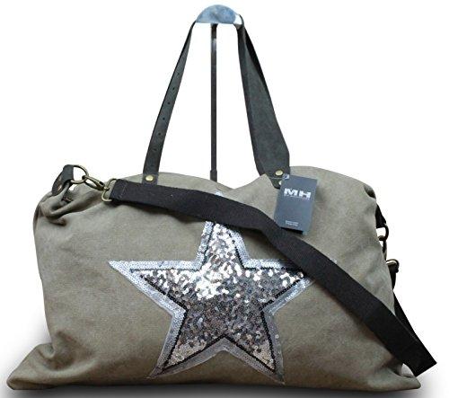 My-Musthave ital. Shopper Canvas-Tasche mit Stern Schultertasche Canvas Leder Mix Vintage , Farbe:Grau Natur