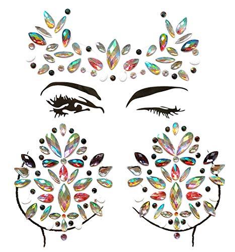 Aufkleber für den Schmuck mit Edelsteinen für das Gesicht Tattoo Aufkleber für die Brust, temporäre Aufkleber für Tattoos mit Glitzersteinchen Body Rave für die Dekoration von Musik ()