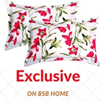 """BSB HOME® Cotton 2 Piece Cotton Pillow Cover Set - 20""""x30"""", White and Red"""