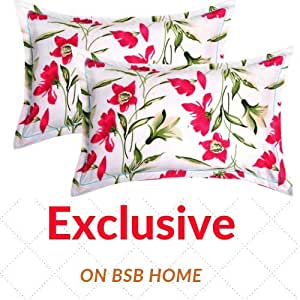"BSB HOME® Cotton 2 Piece Cotton Pillow Cover Set - 20""x30"", White and Red"