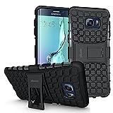 ykooe Galaxy S6 Edge Plus Hülle,TPU Ständer Handyhülle für Samsung Galaxy S6 edge+ Dual Layer Hybrid Handy Schutzhülle für Samsung S6 edge+ Smartphone (5,7 Zoll Schwarz)