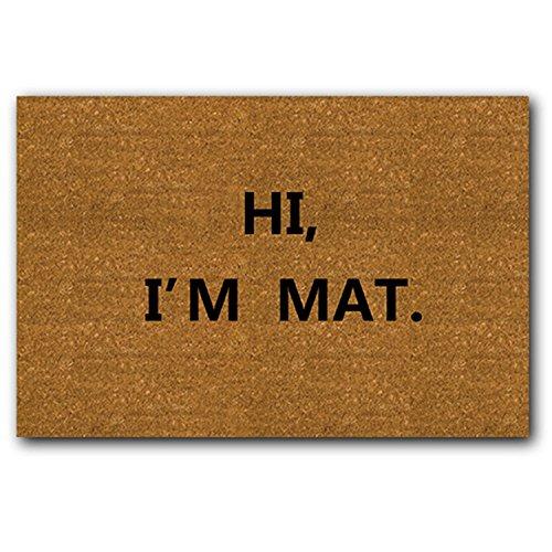 eureya Hallo, ich bin Matte rutschfest Badezimmer Wohnzimmer Küche Fußmatte Bereich Teppiche Eingang Fußmatte für Innenbereich/Außenbereich 59,9cm (L) X 39