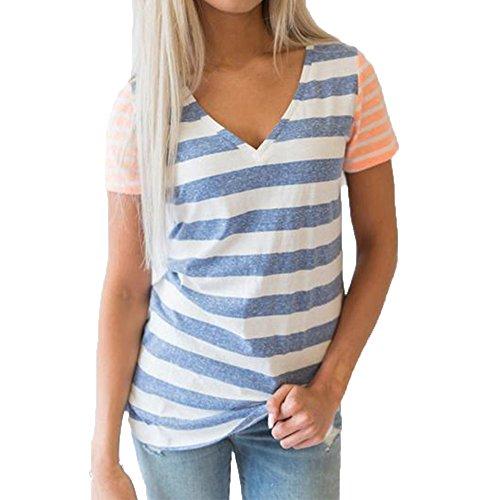 CANDLLY Damen T-Shirt, Tunika Lässige Nähte Gestreift Bluse Oberteile Sommer Kurzarm Pullover T-Shirts mit V-Ausschnitt Hemd Top Blusen Blau(Blau,M)