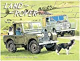 Land Rover Series 1 MK1 MKI. In original green, on the farm with sheep dogs. For house, home, farm, bar or pub. Small Metal/Steel Wall Sign