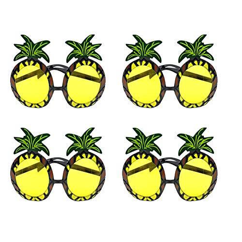 SUNSHINETEK Ananas-Sonnenbrille 4 Paar Ananas-Form-Partei-dekorative Gläser Hawaiianische Tropische Sonnenbrille für Sommer-themenorientierte Partei-Versorgungsmaterialien