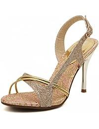 XIAOLIN Moda de verano Peep-toe sandalias elegantes de oro Moda coreana de princesa Stiletto Dulce y bella sandalias...