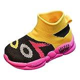 Sllowwa Babyschuhe Jungen Mädchen Baby Unisex Kinder Lauflernschuhe Krabbelschuhe Süße Socken Turnschuhe Führen Sie Sportschuhe Turnschuhe Schuhe(Gelb,23)
