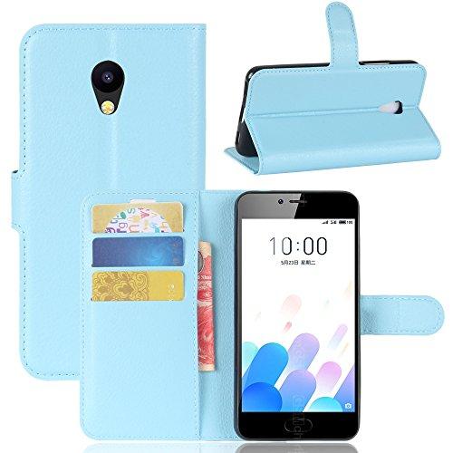 Kihying Hülle für Meizu M5c / Meizu A5 Hülle Schutzhülle PU Leder Flip Wallet Fashion Geschäft HandyHülle (Blau - JFC07)