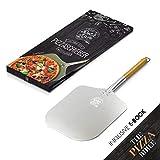 DOLCE MARE® Pizzaschieber - Aluminium Pizzaschaufel mit robustem Eichenholzgriff für eine angenehme Handhabung - Pizza Paddle entwickelt für den empfindlichen Pizzaboden - Pizzaheber | Brotschieber