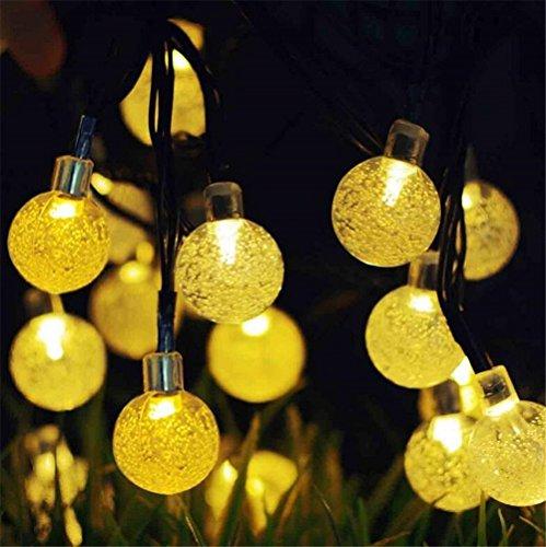 Solarbetriebene Lichterketten Bubble Ball 6M / 19.6ft 30 LED Weihnachtslichter im Freien Schnur-Beleuchtung für Hochzeitsfest-Garten-Weihnachtsverzierung (yellow)