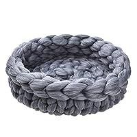 Oshide Hand-Knitted Cat Basket Sleeping Bag Thick Woolen Cat Beds