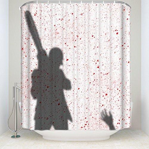 YESLIY Fashion Custom Halloween Thema Schwert Killer Print Wasserdicht Polyester Stoff Vorhang für die Dusche Badezimmer Dekor mit Haken 152,4x 182,9cm (Halloween-dusche Vorhang-set)