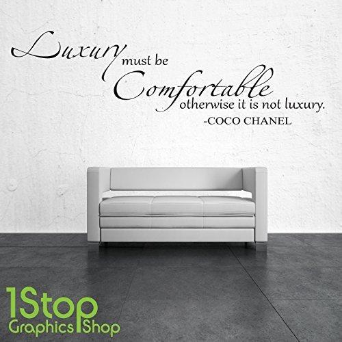 1STOP Graphics Shop - LUXUS MUSS bequem Coco Chanel Wandaufkleber Zitat - Wandkunst Aufkleber X211 - Schwarz, Large
