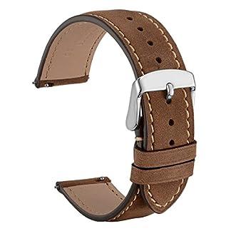 WOCCI-Vintage-Leder-Uhrenarmband-mit-Rose-Gold-Schnalle-Schnellverschluss-Ersatz-Zubehr-18mm-20mm-22mm