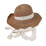 Pawaca donna cappello di paglia cappello da sole estivo a tesa larga  spiaggia Cap Big pieghevole a09465d370fb