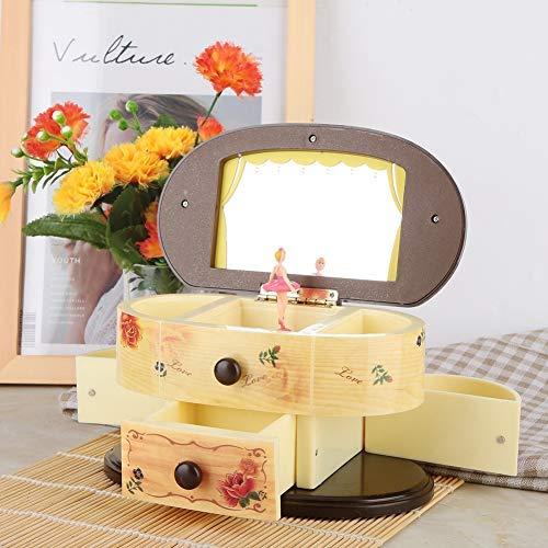 AUNMAS Caja de música Bailando Bailarina Bailarina Joyero Rosa Diseño Caja con Espejo para niñas Niños Amigos Regalos de cumpleaños(2#)