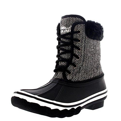 Damen Gummisohle Deep Tread Winter Textil Pelz Cuff Schnee Regen Stiefel Schwarz
