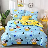 DOTBUY Bettbezug Set, 3 Stück Super Weiche und Angenehme Mikrofaser Einfache Bettwäsche Set Gemütlich Enthalten Bettbezug & Kissenbezug Betten Schlafzimmer (135x200cm, Blau - Kuh)