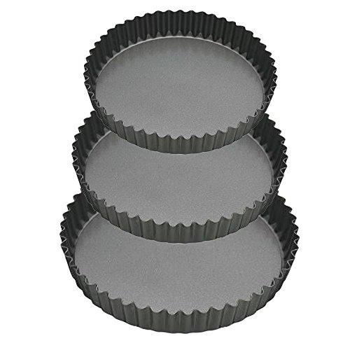 Cake – Tarteform – Quicheform mit Hebeboden – Kohlenstoffstahl – Antihaftbeschichtung – Set von 3 – Ø 20, 24 und 28 cm – Höhe 3 cm
