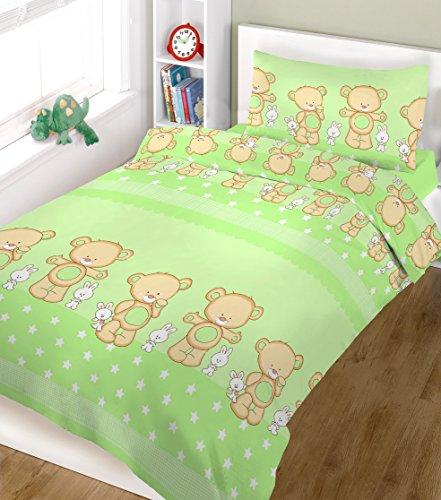 blueberryshop 2Stück Baby Bettdeckenbezug und Kissenbezug für Kinderbett Bettwäsche Set, 150cm Länge x 120cm Breite, grün Happy Teddy