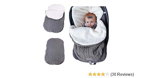 Yibaision Newborn Baby Swaddle Wrap Blanket Stroller Wrap Fleece Winter Warm Sleeping Bag Soft Knitted Blanket Photography Props Infant Sleep Sack Unisex for Boys Girls