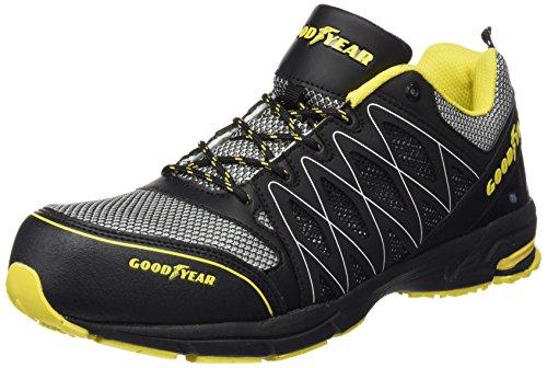 Goodyear GYSHU1502, Herren sportliche Sicherheitsschuhe , Schwarz - Black (Black/Yellow) - Größe: 43 EU (9 UK)