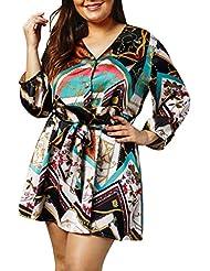 Oyeden Vestido, Mujeres Vestido Largo De Manga Corta con Estampado De Cadena para Mujer Vestido De Fiesta De Verano