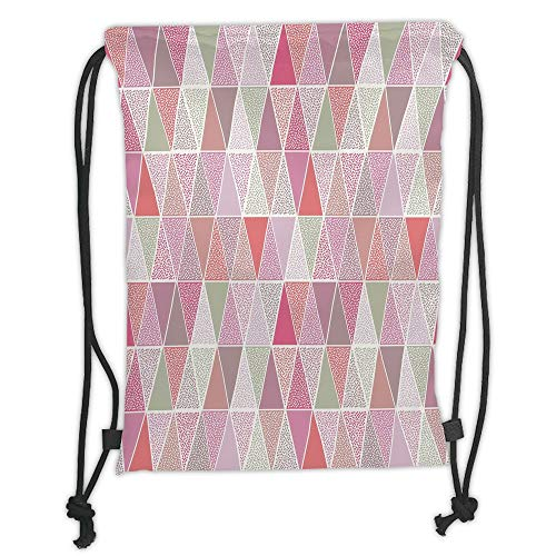 LULUZXOA Gym Bag Printed Drawstring Sack Backpacks Bags,Peach,Colorful Geometric Design Triangles with Polka Dots Octagon Shape Pattern Triangular Decorative, Octagon Dot