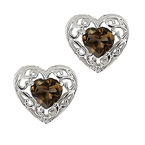 1 Ct Genuine Smoky Quartz & Diamond Heart Stud Earrings .925 Sterling Silver Rhodium Finish