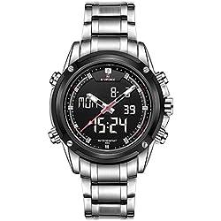 GBlife Men Quarz Watch Analog Digital LED Wristwatch Calendar Watches Steel Strap(Silver)