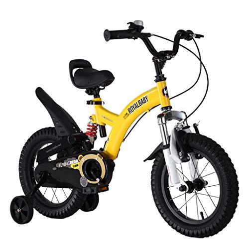 Kids'Bikes Zhangsisi Kinder Heimtrainer 2-4-6-7-8-9-10 Jahre alte Jungen und Mädchen Fahrräder Outdoor Cycling, Kinder Student Fahrräder Kinder (Color : Yellow, Size : 12IN)