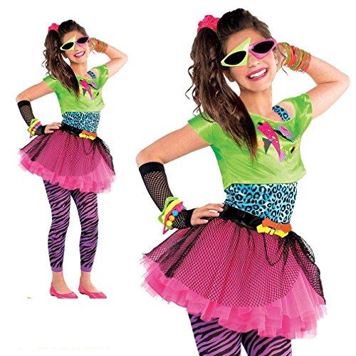 Teens Mädchen 1980s Total Toll Kostüm Neon Party Outfit Tutu Kostüm - Eine Farbe, 10-12 Jahre