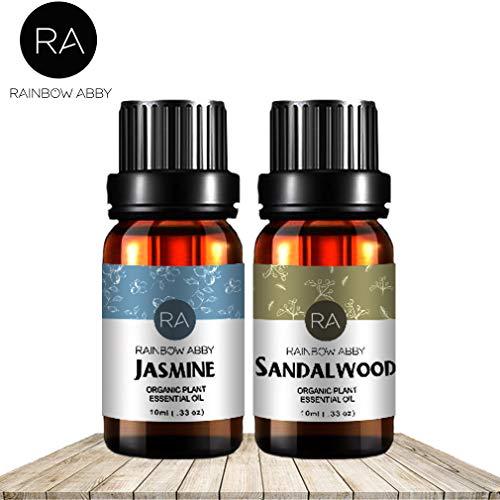 RAINBOW ABBY Sandelholz Jasmin ÄTherische Öl, 2/10 ml und 100% Reine Therapeutischen Klasse Öle Aromatherapie