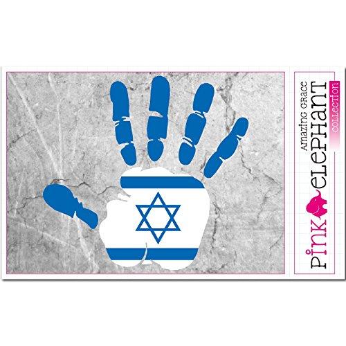 pinkelephant Aufkleber - Israel - Hand - Handabdruck - Fahne - 21 cm x 20 cm - Laptop Sticker skin flag (Aufkleber Jüdische)
