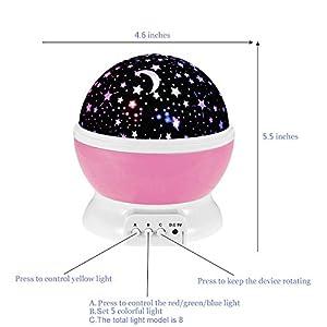 Ecandy 360 Grad drehbaren 3-Modus-Projektor-Licht Romantische Kosmos-Stern-Himmel Mond Projektionslampe Schlafzimmer Nachtlicht für Kinder, Baby, Weihnachtsgeschenke, Liebhaber USB / batteriebetrieben .