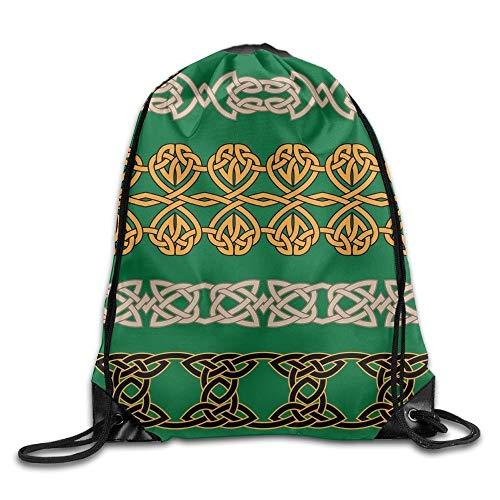 FTKLSS Lightweight Foldable Large Capacity Borders Spiral Tribal Men & Women Drawstring Backpack Travel Bag