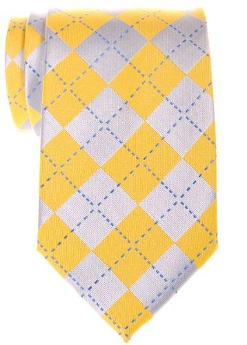 Retreez Classy Plaid en Microfibre Carreaux tissé de cravate–Différentes couleurs Jaune - Yellow and Grey