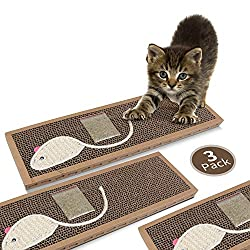 Nobleza - Cat Scratching Board with Sisal Play Kitten Scratch Corrugated Card Board with Free Catnip,(38 * 12.5 * 1.8) cm(3)