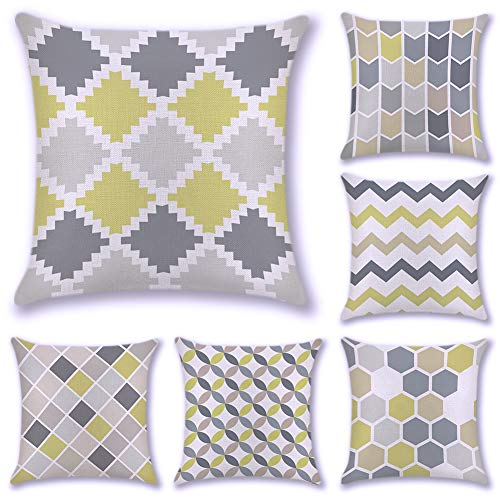 JOTOM 6er Set Kissenbezug Baumwolle Leinen Platz Kissenbezug Cushion Cover Pillow Case Abdeckung für Haus Schlafzimmer Sofa Car Deko 45 cm x 45 cm (Gelb und Grau) -