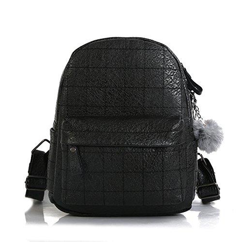 27 Mini-anhänger (RFVBNM Frauen Rucksack Mode kausal Taschen hochwertige Damenrucksack Mini Tasche weibliche Schultertasche Hair Ball Anhänger Falttasche Bestes Geschenk für Mädchen 23 * 27 * 12cm, schwarz)