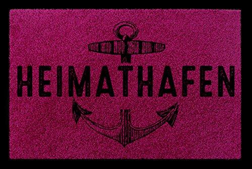 TÜRMATTE Fußmatte HEIMATHAFEN Maritim Eingang Einzug Flur Badezimmer Türvorleger Fuchsia