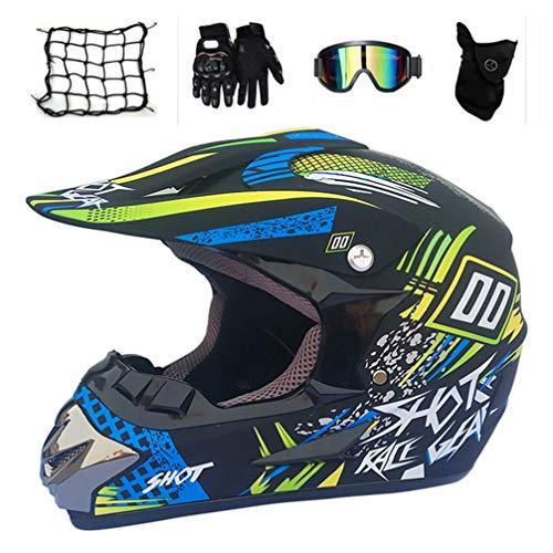 Motocross Helm Set, Schwarz und Blau/ 5 Stück, Motorradhelm Crosshelme Schutzhelm für Motorrad Quad Crossbike ATV Off Road MTB Enduro Sport Sicherheit Schutz,S - Kinder Atv Blau Helm