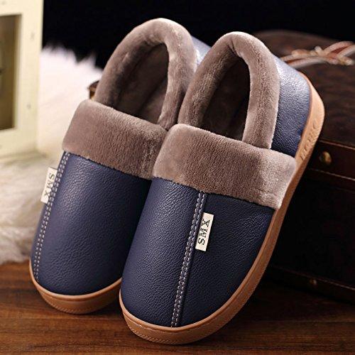 DogHaccd pantofole,Inverno pantofole di cotone interna femmina resistente all'acqua anti-scivolo per le coppie home soggiorno con un pacchetto con le scarpe più caldo di velluto di pelle e maschio Blu scuro1
