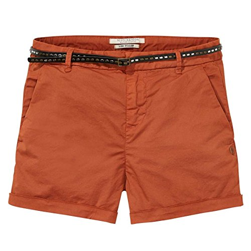 Scotch & Soda Maison Damen Chino Short in Medium Weight Stretch Pima Cotton, Sold with Clay