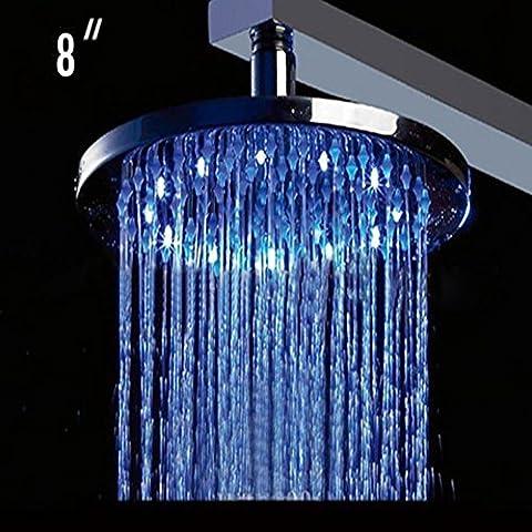 Led Light Shower Nozzle Round 8 Inch Big Showerheads Bathroom