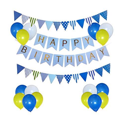 Decoraciones de cumpleaños Suministros para niños Feliz cumpleaños Bunting Banner Azul Blanco Amarillo Látex Globos Triángulo Banderas Colgando Buntings para cumpleaños Fiesta de Bday Baby Shower