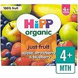 Hipp Organique Fruits Purement Pomme, Fraise Et Bleuet 4 X 100G - Paquet de 6