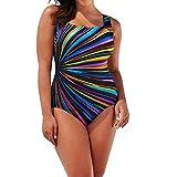 Hirolan Damen Brazilian Beachwear Schwimmen Gepolstert Badeanzug Monokini Bademode Hochdrücken Push Up Bikini Sätze Tankini Crop Top Übergröße Hipster Swimwear Retro Strandmode (Mehrfarbig, XXXL)