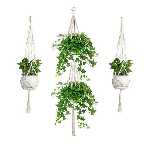 Koitoy Makramee Blumenampel Hängeampel für Innen Außen hängende Pflanzgefäße Pflanzenhänger Blumentopf Pflanzenhalter,3 Stück, für Balkon Decke(3)